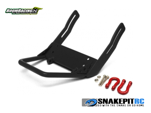 Boom Racing Steel Front Bumper B With Red Towing Hooks Black