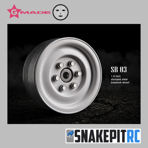Gmade 1.9 SR03 beadlock wheels (Gloss White) (2)