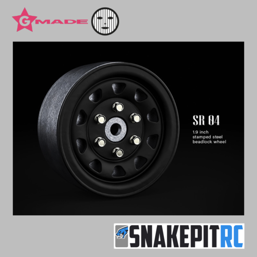 Gmade 1.9 SR04 beadlock wheels (Matt Black) (2)